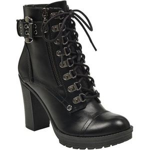 G by Guess  Black Combat Boot Lace Up Heel